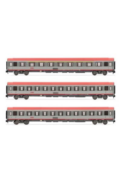ACME 90067 Набор пассажирских вагонов 3шт IC Amz+Bpmz+Kinderkino OBB Epoche VI 1/87