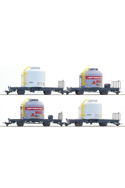 Bemo 7452111 Набор вагонов RhB 4er-Wagenset Zementwagen Uce H0m Epoche V