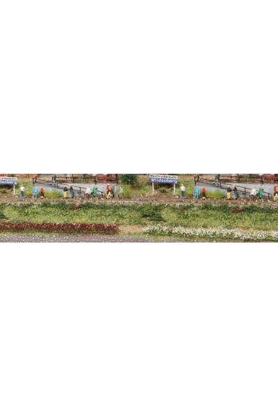 Heki 1815 Набор полоски травы 10шт 100мм 6мм бордовый белый