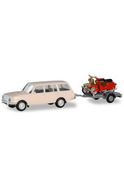 Herpa 420419 Автомобиль Wartburg 353 66 Tourist 2xSimson 1/87