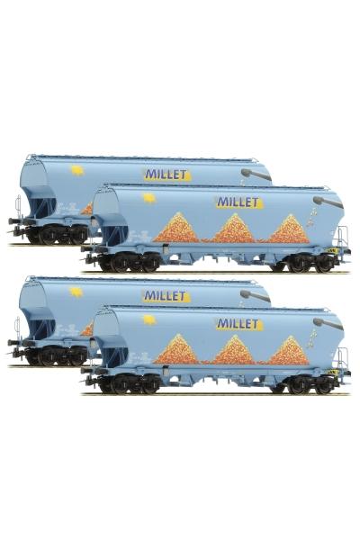 LSM 30581 Набор вагонов Tagnpps 4шт Millet SNCF Epoche VI 1/87