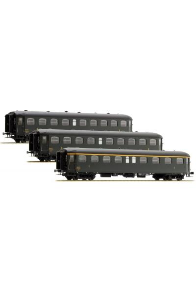 LSM 40186 Набор пассажирских вагонов B9myfi + B9myfi + A8myfi Rapide Nord SNCF Epoche III 1/87