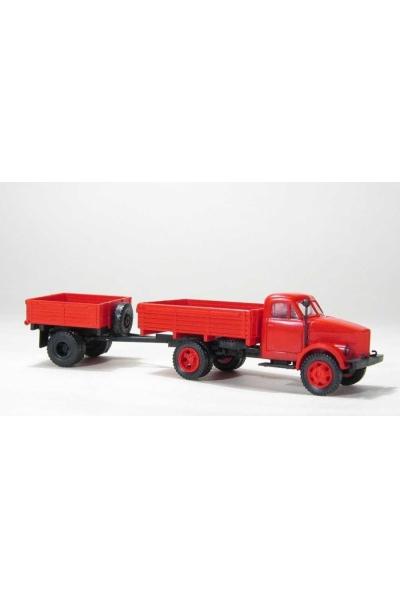 MM 33255 Автомобиль ГАЗ-51 бортовой + бортовой прицеп 1АП красный 1/87
