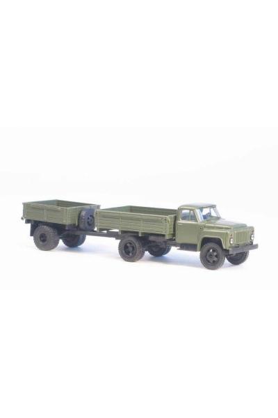 MM 33350 Автомобиль ГАЗ-52 бортовой + бортовой прицеп 1АП армейский 1/87