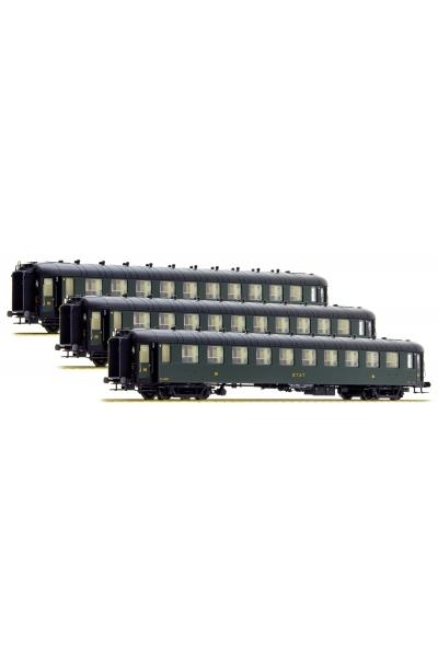 MW 40375 Набор пассажирских вагонов OCEM C10yfi ETAT Epoche II 1/87