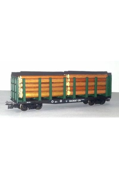 Пересвет 3816 Платформа с грузом леса с торцевыми бортами РЖД эп.V 1/120